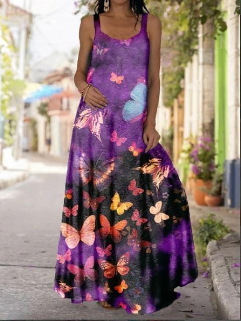 2021 Summer Women Long Maxi Dress Bohemian Suspender Strapless Mop Robe Tie Dye 3D Printed Sleeveless Vestido New Design Female 4