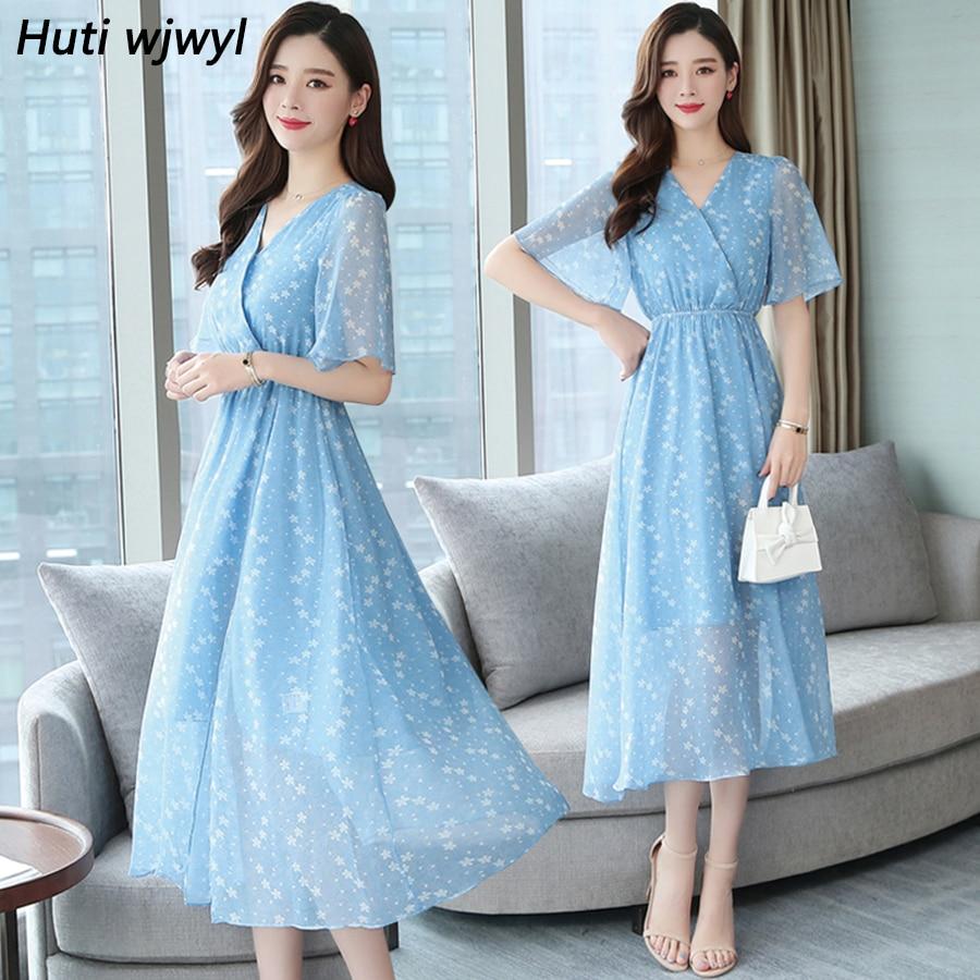 Plus Size Summer Vintage Chiffon Boho Beach Holiday Sundress 2020 Korean Elegant Women Party Midi Dresses Casual Maxi Vestidos