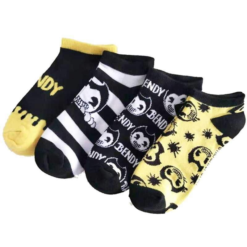 Women Cute Fashion Short Cotton Socks Halloween Horror Bendy Ink Machine Cosplay Casual Ankle Socks Girls Christmas Warm Gift