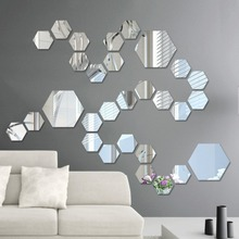 Hot 12PCS Acrylic Mirror Wall Stickers Self Adhesive Removable Hexagonal Decorative Sheet For Living Room Bedroom Decor