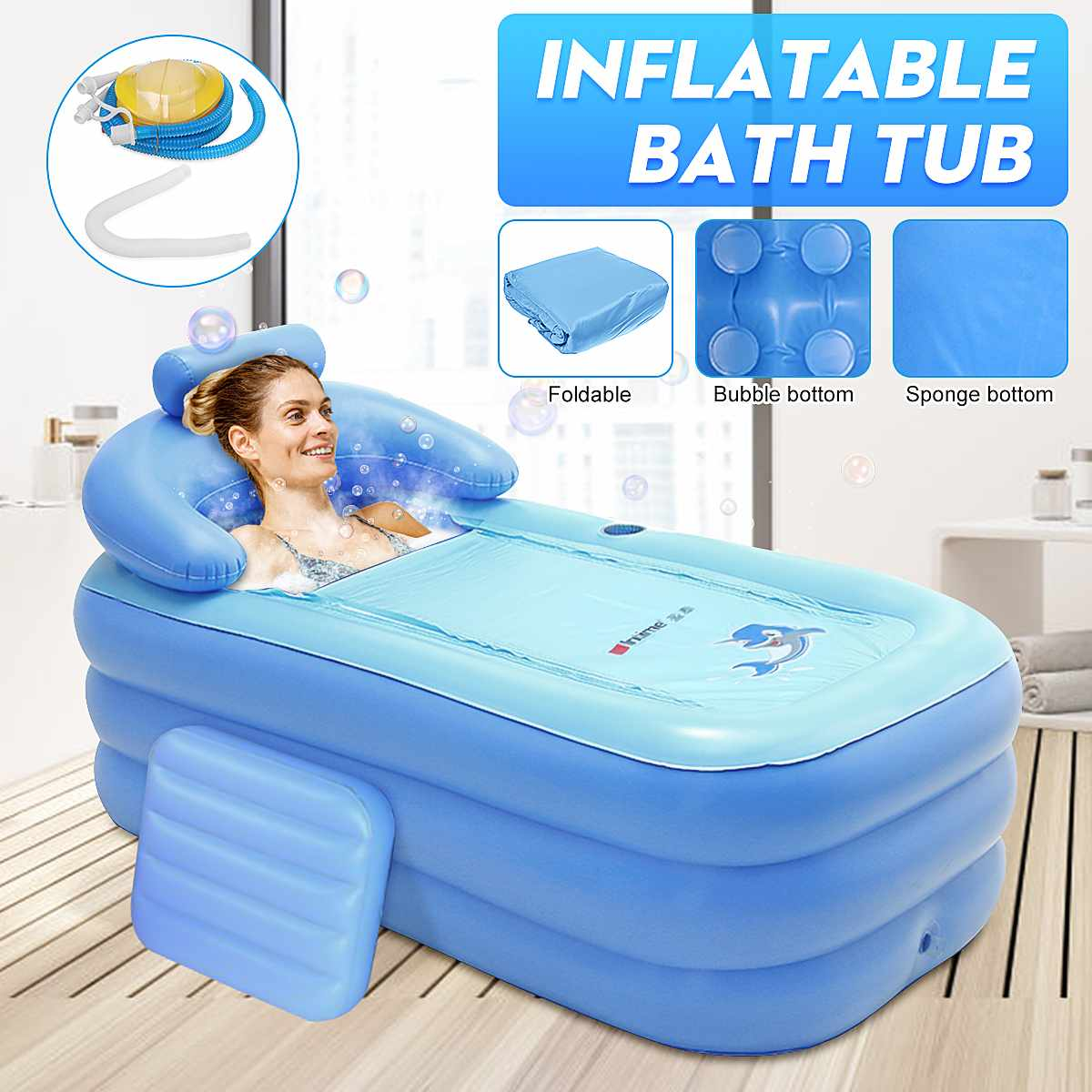 Portátil dobrável engrossado inflável banheira casa acampamento viagem banho piscina ao ar livre piscina família spa para adulto ou criança-0