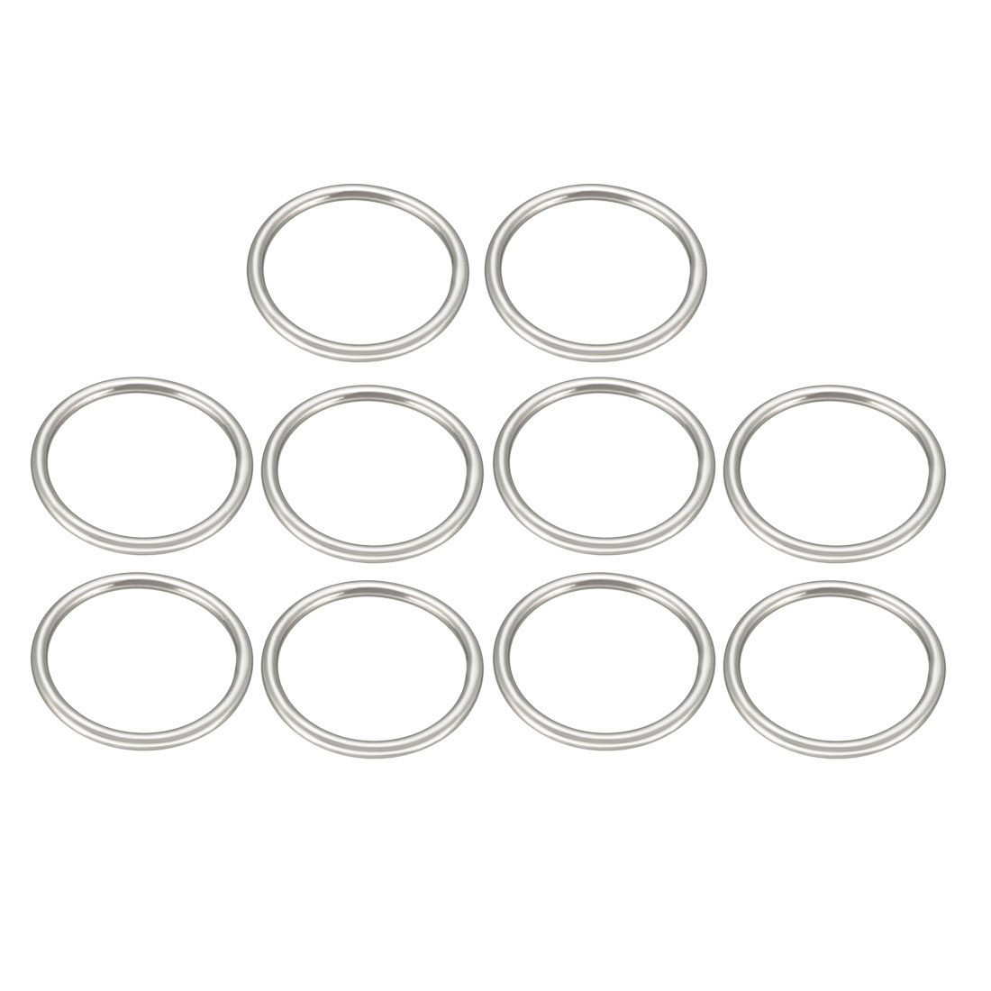 Uxcell 10 Pcs Multi-Purpose Metal O Ring Buckle Welded 37mm X 31mm X 3mm For Hardware Bags Ring Hand DIY Accessories