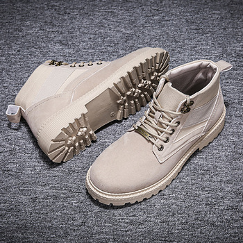 2019 Fashion New Mens Boots High-top Martins Men's Canvas Suede Shoes Men's Shoes Men's Fashion Boots Winter Boots Work Boots