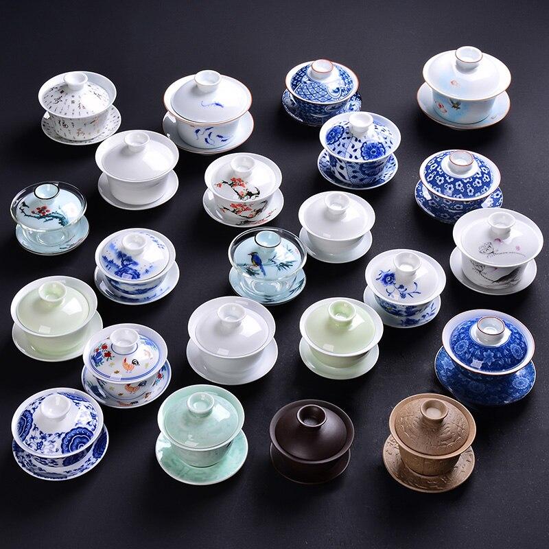 중국어 쿵후 차 컵 도자기 차 그릇 도자기 tureen 세라믹 가이완 teaset 및 접시 g