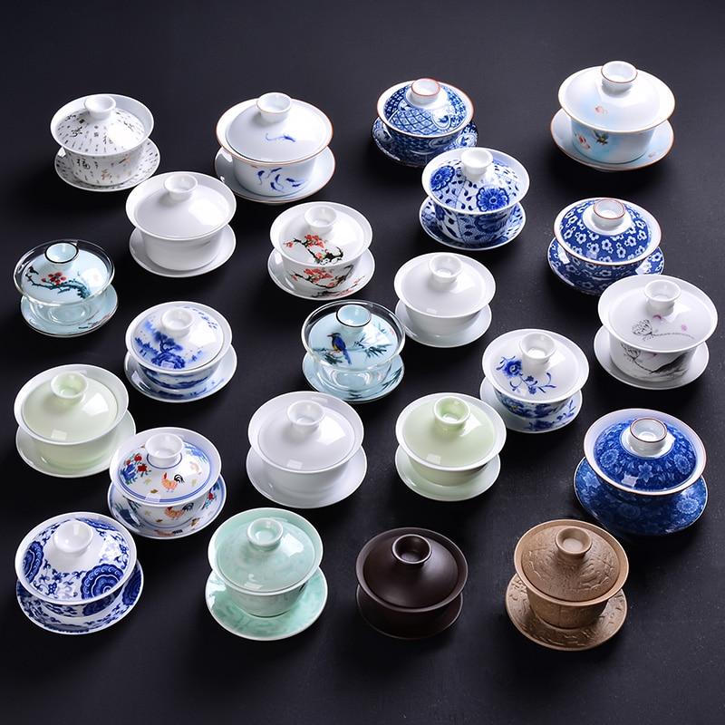 Chino KungFu tazas de té porcelana tazón de té Ware Tureen cerámica Gaiwan Teaset y platillo G