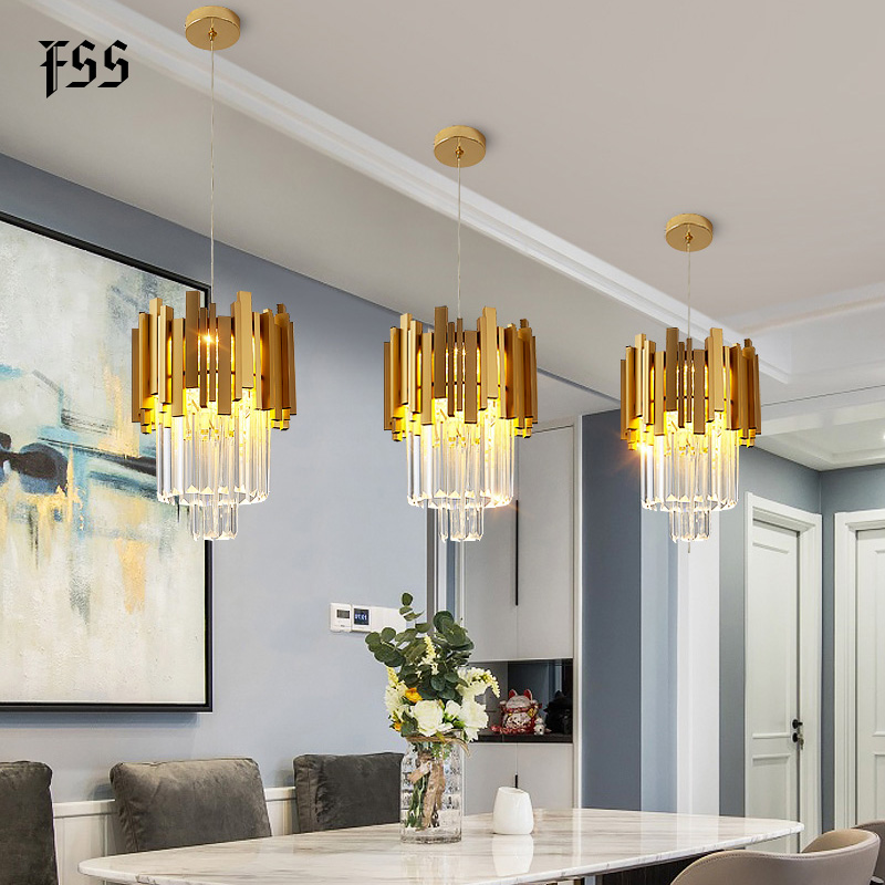 FSS Modern Gold Small Round Crystal Chandelier Lighting Dining Room Bedroom Chandeliers Light Fixtures Kitchen Island Lustre New