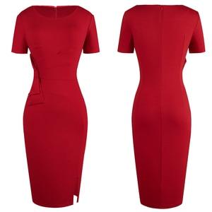 Image 2 - Nice forever Vintage Solid Color Side Split Wear to Work Zipper Bow vestidos Bodycon Office Business Sheath Women Dress B427