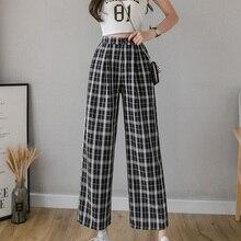 Plaid Pants Joggers Female Trousers Wide-Leg Streetwear Vintage High-Waist Plus-Size