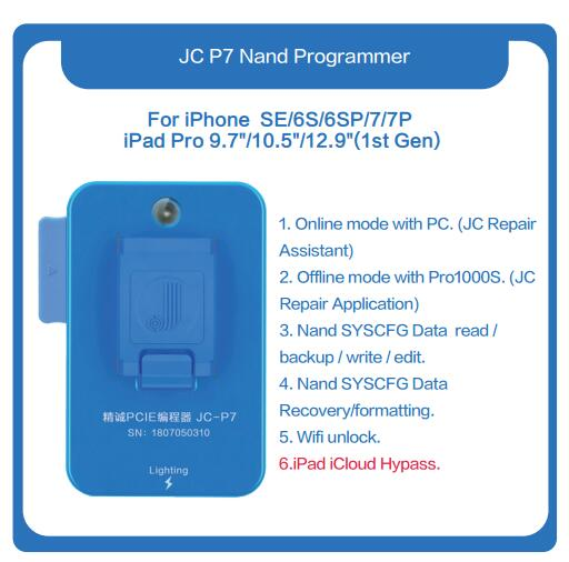 JC Pro1000S JC P7 NAND Programmer For IPhone 6S 6SP 5SE 7 7P IPad Pro NAND SN Read Write IPad Pro Error Repair PCIE-XS PCIE-8