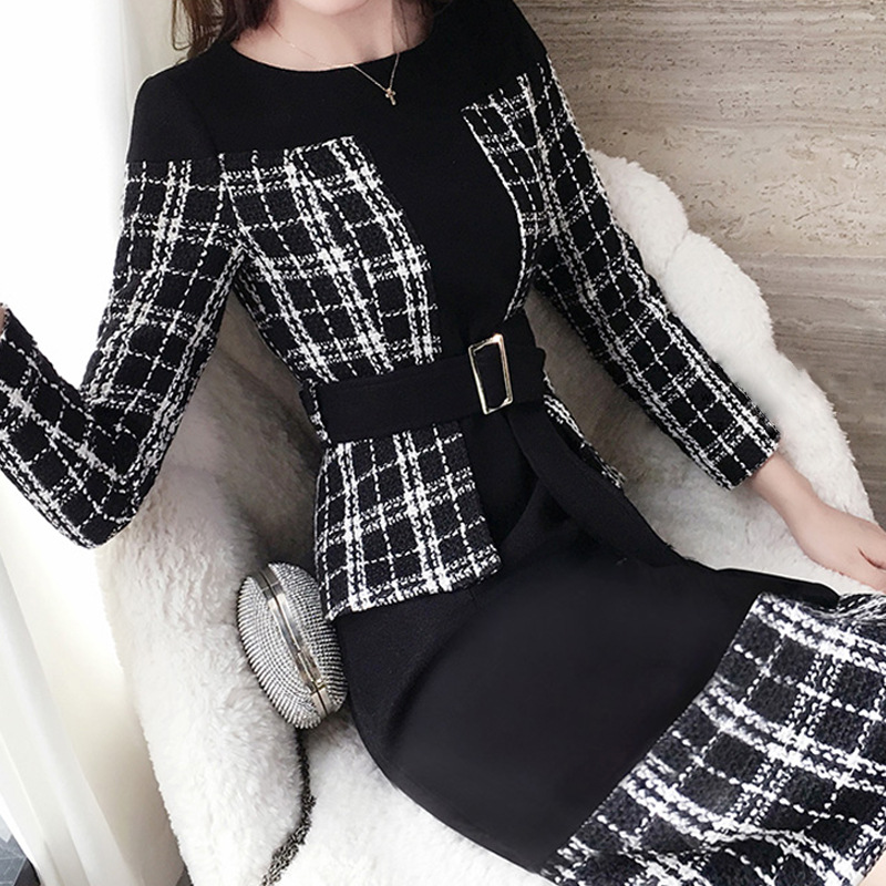 Dress Women's Autumn And Winter 2019 New Style Elegant Waist Hugging Base Sheath Skirt Thick Mock Two-Piece Plaid A- Line Skirt