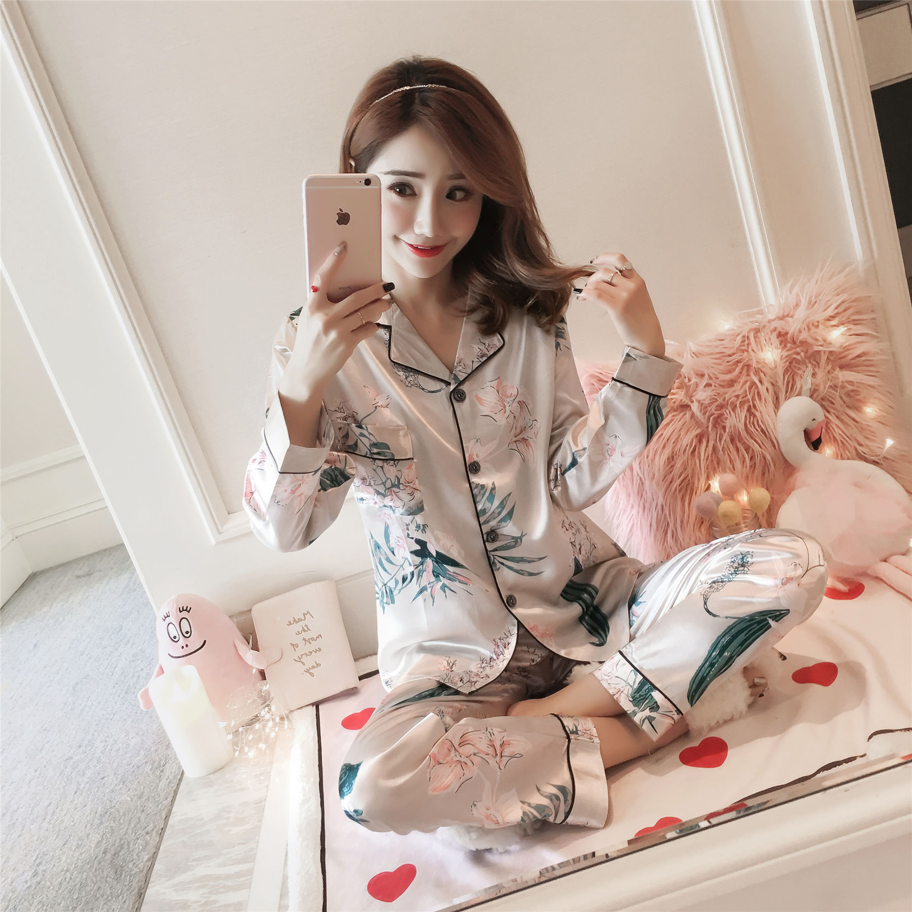 Imitated Silk Pajamas Women's Autumn Lily Long Sleeve Fold-down Collar Silk Shirt Collar Tracksuit Europe And America Thin Two-P