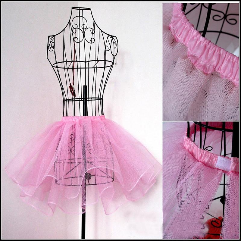 White Ballet Halloween Petticoat Tulle Ruffle Velcro Hook Band Pink Short Black Crinoline Bridal Petticoats Lady Underskirt