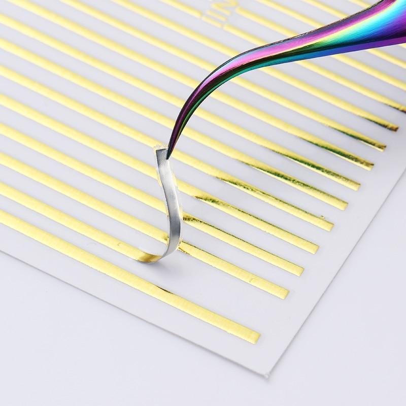 3D Nail Stickers Gold Silver Stripe Metal Nail Sticker Liner Strip Nail Art Adhesive Transfer Sticker Multi-size Manicure Sticke