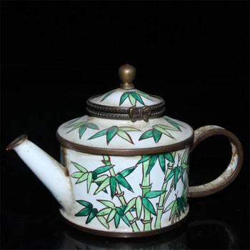 Collection Chinese Handmade Red Copper Enamel Color Painting Bamboo Wine Pot Kettle Teapot Exquisite Gift Home Decoration