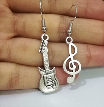 Antique Silver Color Guitar Earrings Music Note Earrings Mismatch Earrings Gift for Music Lovers Tiny Guitar stunning rhinestone music note guitar shape hollow out bracelet for women