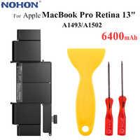 """Batterie d'ordinateur portable d'origine NOHON A1493 pour Apple MacBook Pro Retina 13 """"A1502 2013 2014 ME864 ME865 11.34V 6400mAh + outils gratuits"""