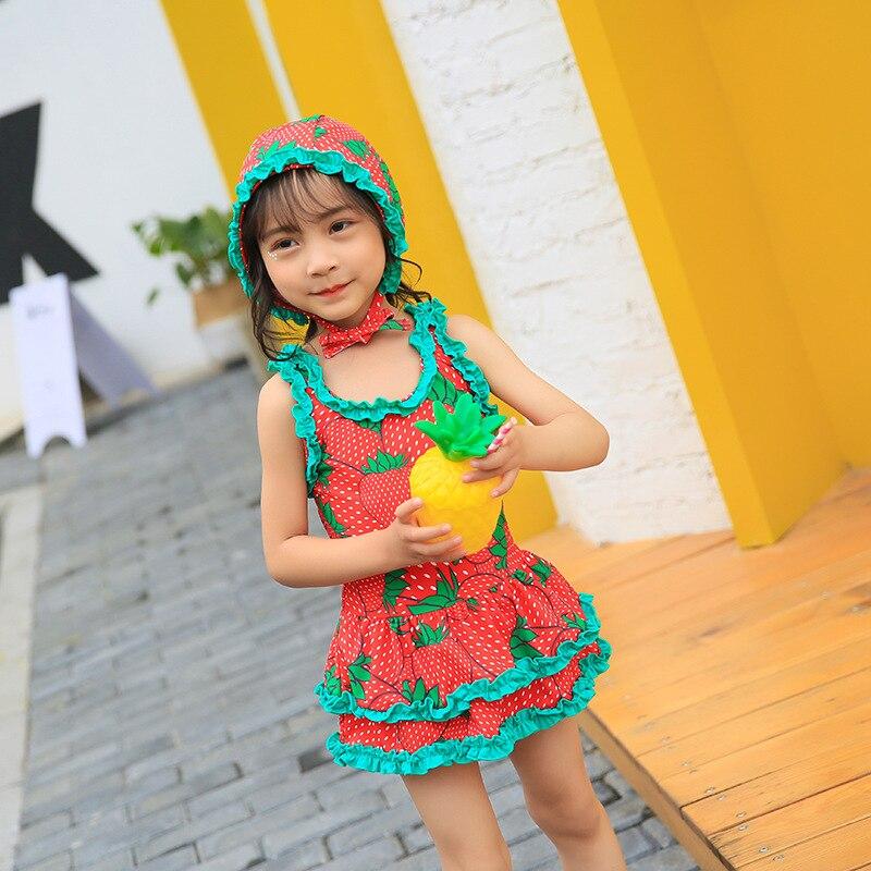 Haiyishan 2018 New Style KID'S Swimwear Cute Cartoon Dress-with Swim Cap Medium-small Girls GIRL'S Bathing Suit
