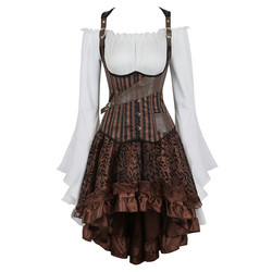 3 шт. стимпанк корсет платье Готический корсет под грудь жилет с юбка в стиле бурлеск винтажный пиратский косплей костюм набор размера плюс