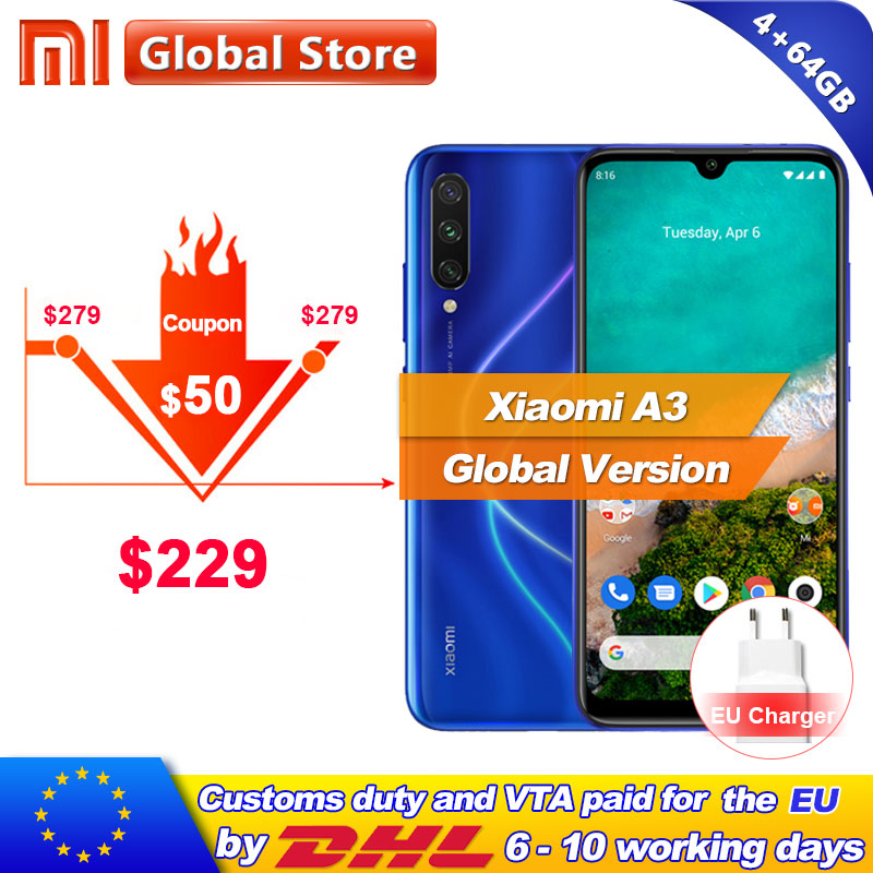 In Stock Global Version Xiaomi Mi A3 MiA3 4GB 64GB Mobile Phone 48MP 32MP Camera Snapdragon