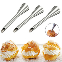 Cream Icing Piping Nozzle Tip 1PC Stainless Steel Cupcake Puffs Injection Russian Syringe Puff Nozzle Tip Pastry Tool