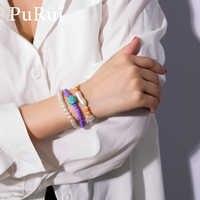PuRui 3pcs Imitation Pearl Beads Strand Bracelet Set Star Stone Charm Bracelet for Women Jewelry Elastic Band Bracelet Bangle