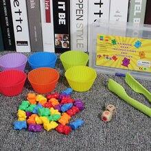 Nouveau 1 ensemble de tasses empilées avec comptage des ours Montessori arc-en-ciel jumelé jouets bébé jouets éducatifs d'apprentissage couleurs assorties jouets