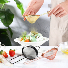 Stainless Steel Kitchen Handheld Screen Mesh Strainer Rose Gold Flour Sieve Cooking Oil Strainer Colander Kitchen Accessories stainless steel cooking colander pro kitchen strainer noodles colander two types food filter strainer