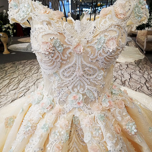 Image 5 - LS32412 as the picture off shoulder sweetheart ball gown lace up back hand work wedding dresses vestido de noiva real photos