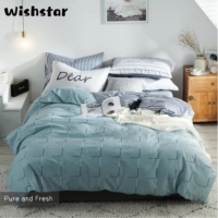 Wishstar Nordic Simple Geometric Blue Duvets And Linen Sets 100% Cotton Man Elastic Fitted Sheet Bedding Set Single Double Size