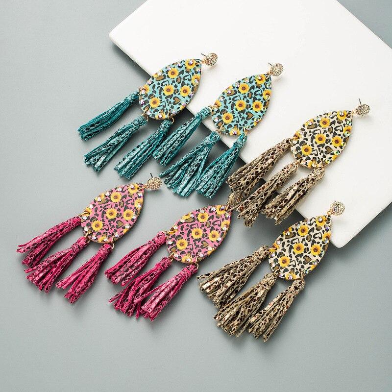 Leather Colorful Flowers Print Snake Skin Three Long Tassels Pendant Stud Earrings