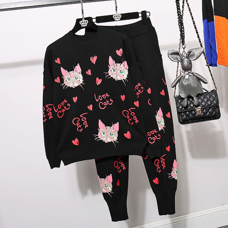 Autumn Loose Women Cartoon Knitted Sweater + Casual Pants 2pc Set Women Black Pullover Knitting Trousers Suit Tracksuit Female