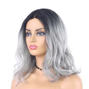 Image 3 - Ombre אפור חום בצבע סינטטי תחרה פאות טבעי גל קצר בוב פאות עבור נשים גבוהה טמפרטורת תחרה פאת שיער חתיכות X TRESS