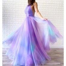 Новое сексуальное Сетчатое длинное платье с лямкой на шее без рукавов, богемное платье с открытой спиной в стиле ампир, ТРАПЕЦИЕВИДНОЕ ПЛАТЬЕ с принтом, летние Вечерние платья на бретельках