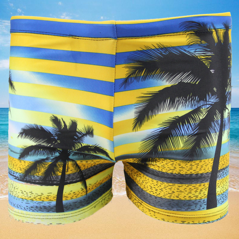 Men-Style Quick-Dry Coconut Tree Digital Printing Swimming Trunks Students Conservative Boxer Safe Swimming Trunks Swimwear