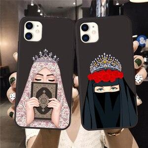 Image 2 - Luksusowa kobieta korona hidżab twarz muzułmanin islamski Gril oczy pokrywa etui na telefony dla Iphone 11 Pro Max X 6S 7 8 Plus XR XS MAX SE 2020