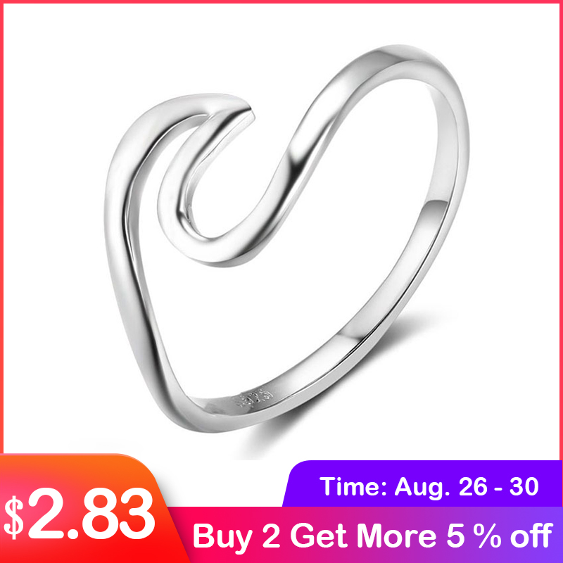 925-Sterling-Silver Rings Fine-Jewelry Wave-Shape Simple-Style Women For 5/6/7/.. Lam-Hub-Fong