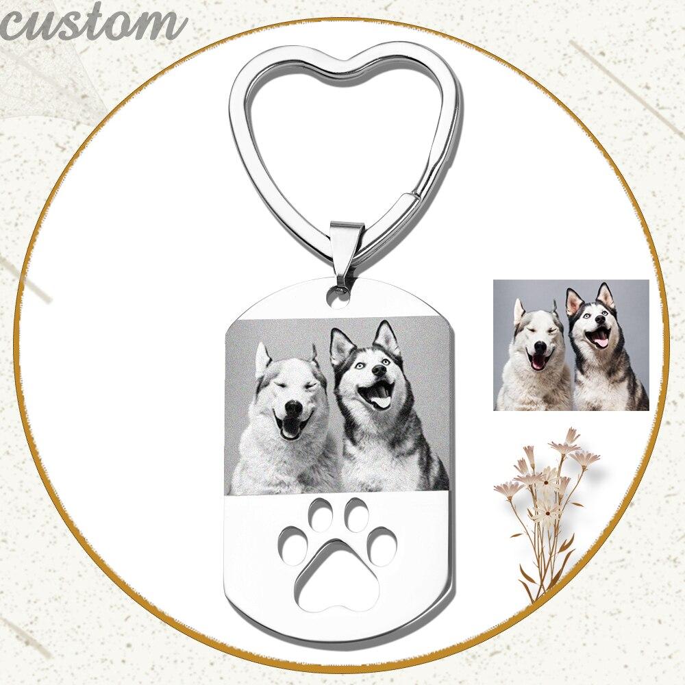 Брелок для ключей с именной гравировкой, ювелирное изделие из нержавеющей стали с именной датой, для любимых собак и людей