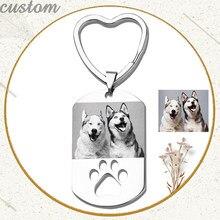 Personalize a foto do cão id tag chaveiro de aço inoxidável gravar nome data diy keyring jóias para o amor cão pessoas pet lembrança