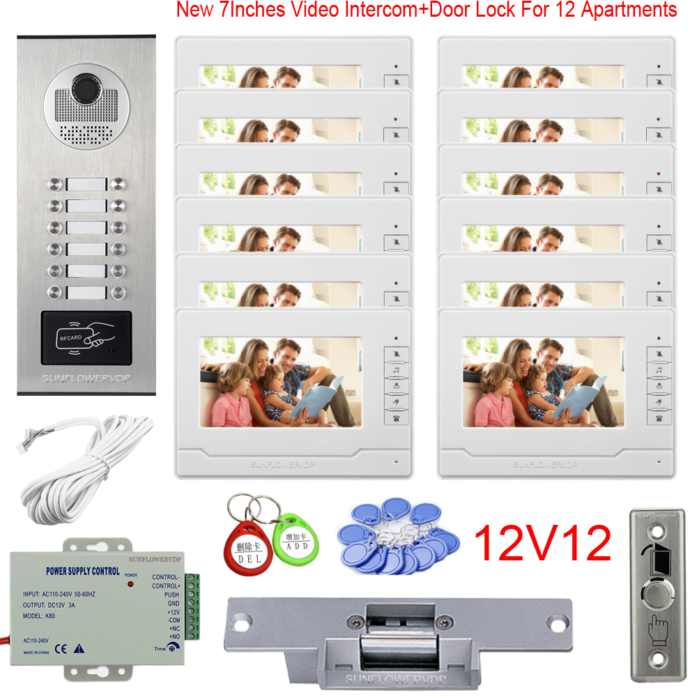 Multi Apartments Video Phone Rfid Wired Video Intercom 8/10/12 Buttons Intercom Key 7Inches New Monitor With Electric Door Lock