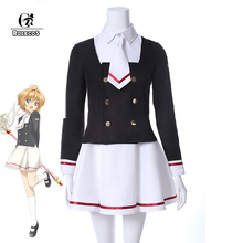 цена на ROLECOS Cardcaptor Sakura Clearcard Cosplay Costume Kinomoto Sakura Tomoyo Daidoji Cosplay Costume School Uniform Cosplay