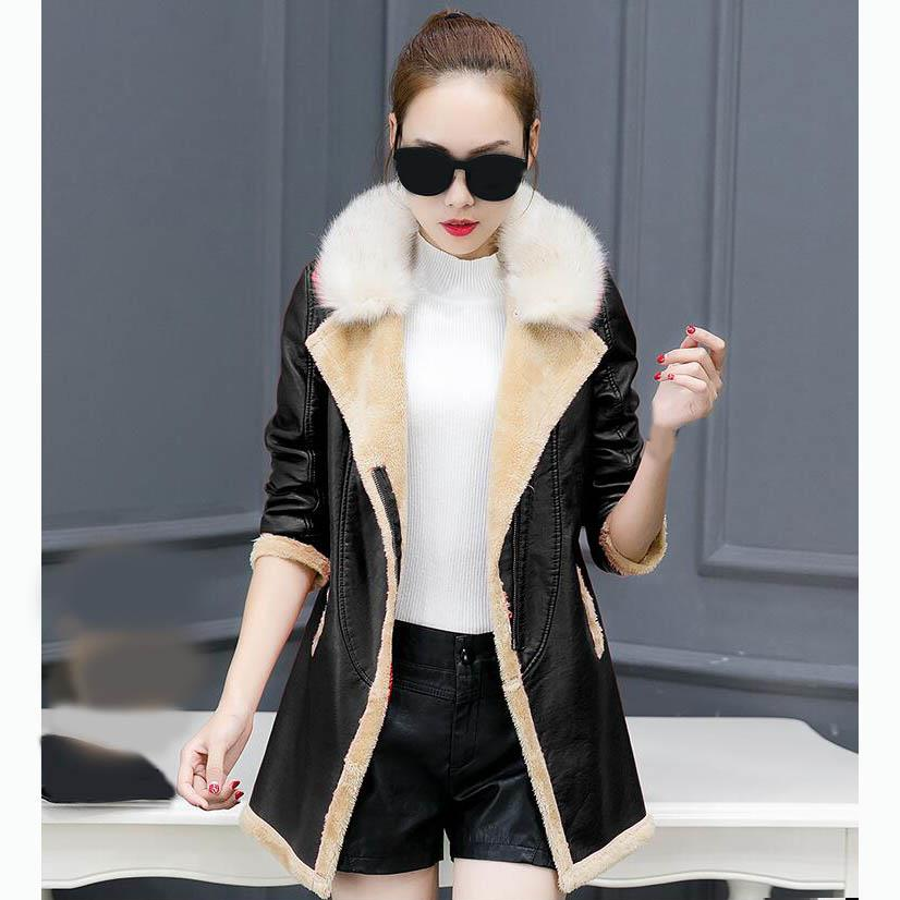 Winter Women   Suede   Jacket Female Motorcycle Faux   Leather   Coat Long Sleeve Pu Jacket