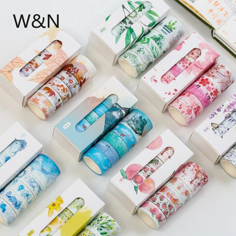 5 Pcs/ Lot Fall Washi Tape Set Flower Cute Paper Masking Tape Decorative Japanese Stationery Scrapbooking Office School Supplies