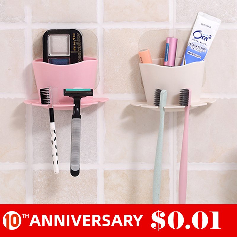 UNTIOR Plastic Toothbrush Holder Toothpaste Storage Rack Shaver Tooth Brush Dispenser Bathroom Organizer Accessories Set Tools