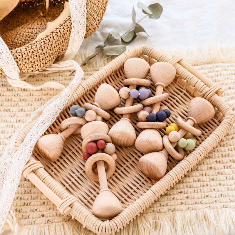 1PC 1 Set Wooden Double Silicone Cone Rattle Bell Teether Rattle Baby Toys Wooden Ring Teething Toys For 0 12 Month 2020 New Hot