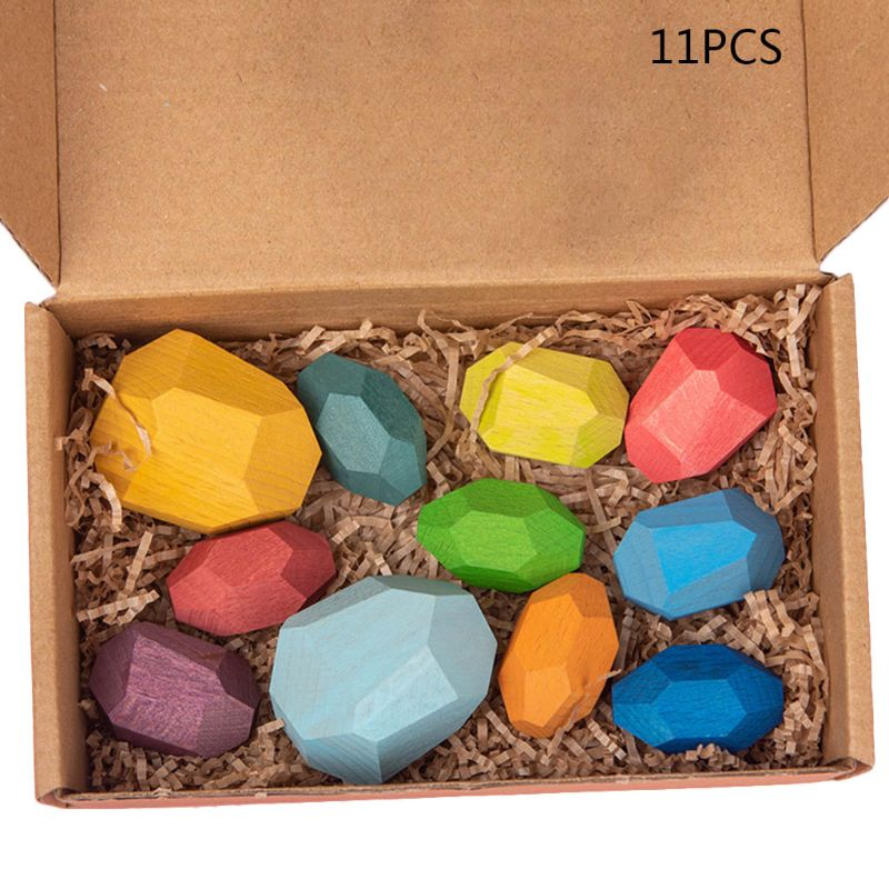 11 Pcs Children Wooden Colored Stone Stacking Game Building Block Kids Creative Educational Puzzle Toy