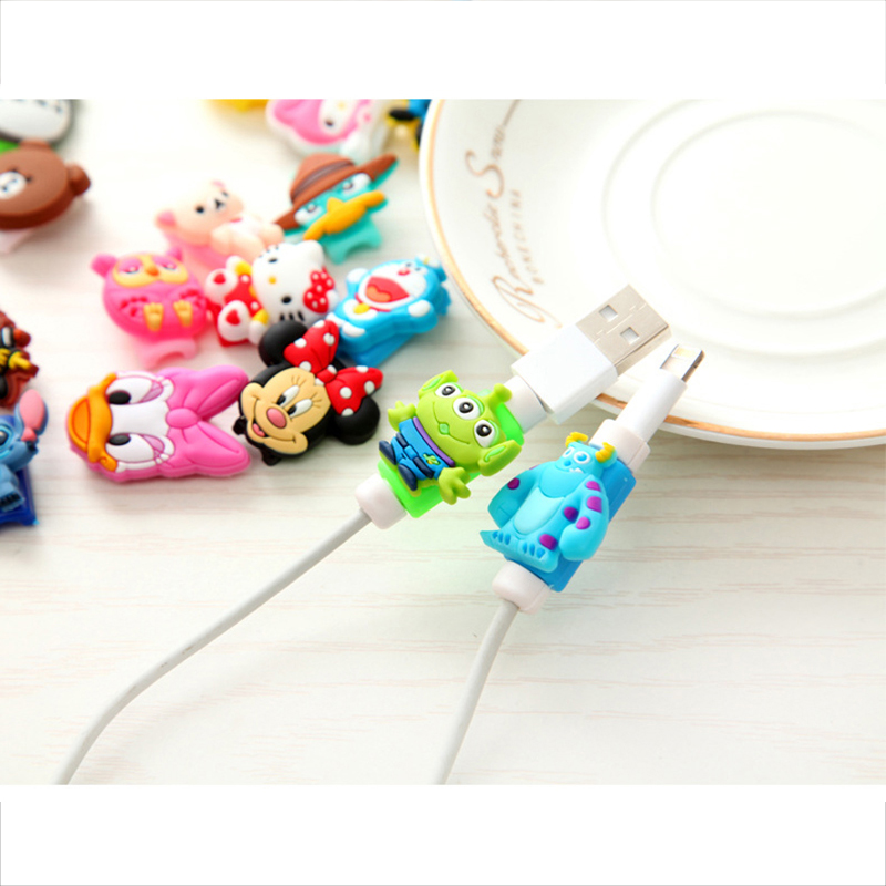 Universal Cartoon USB Phone Cable Cord Protector For IPhone XS Max XR Case For IPhone X 4 4S 5 6 6S 7 8 Plus Cute Cover
