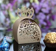 Rose Laser Cut Hollow Candy Box Wedding Party Favors Gift Bags Baby Shower Wedding Chocolate Box(China)