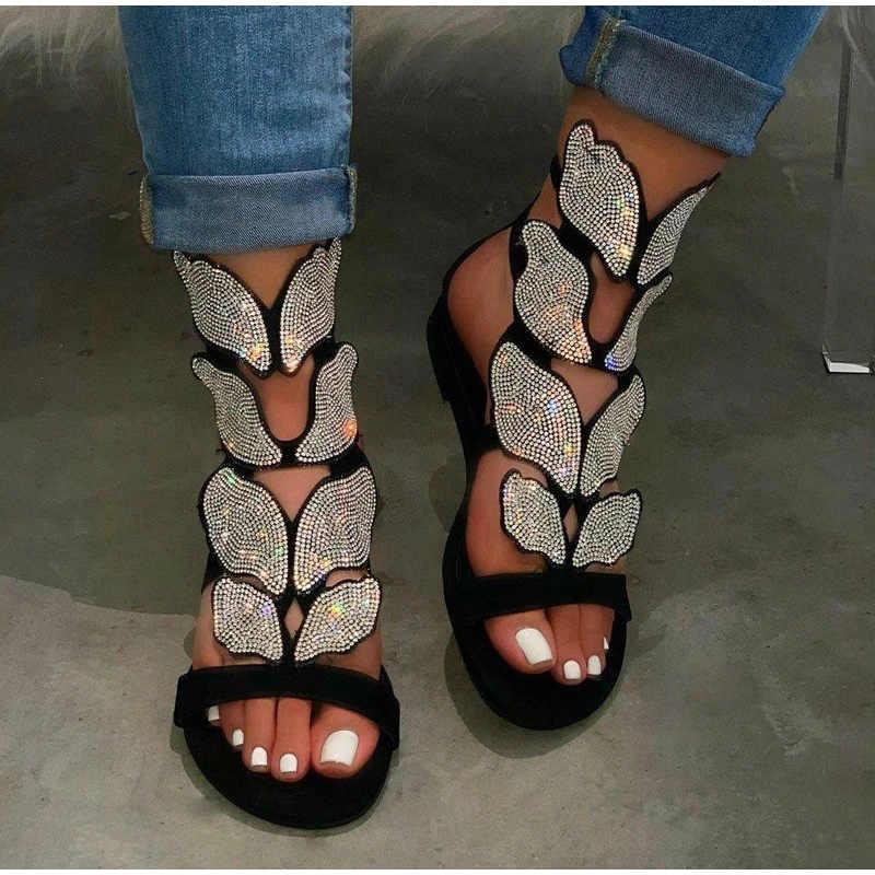 Женские сандалии со стразами на плоской подошве; Летние женские сандалии-гладиаторы с ремешком на щиколотке и пряжкой; Пляжная обувь; Женская модная шикарная обувь; Большие размеры