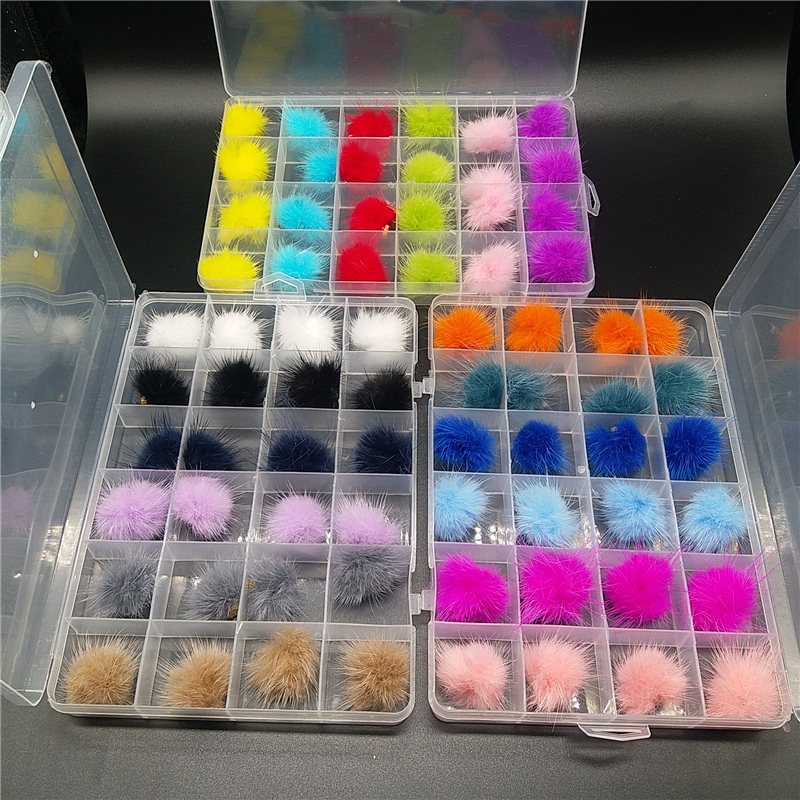 24pcs Box Magnetic Pompoms for Nails Art Design Nail Art Decoration Nail Pom Poms Kit Magnetic