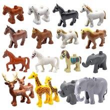 Большой размер здание блоки дупло животное зоопарк аксессуары фигурки лошадь слон жираф панда олень панда игрушки для детей подарок